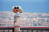 Touristic telescope with view of Barcelona
