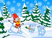 The Cartoon Coniferous Snowy Forest With A Snowman And Two Rabbits.