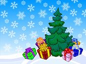 The Illustration Of A Christmas Tree And Present Boxes With Snowy Background.