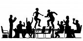 Illustrated silhouettes of business people celebrating at a meeting by dancing on the table