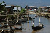 Daily Life In Canal Near Inle Lake,Myanmar.