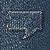 Jeans textured speech bubble - vector illustration