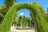 Archway in Aranjuez royal palace gardens Spain.
