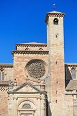Detail of the facade of St Mary Cathedral in Siguenza Guadalajara Spain.