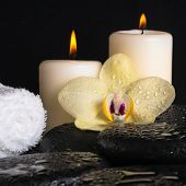 Beautiful Spa Set Of Yellow Orchid (phalaenopsis) On Zen Stones, Drops, Candles And Stacked Of Towel