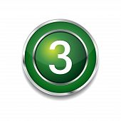 3 Number Circular Vector Green Web Icon Button