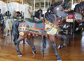 Horses on a traditional fairground Jane's carousel in Brooklyn