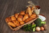 Basket With Buns And Bread