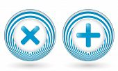 Set Of Two Blue Icons With Symbols