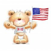 foto of teddy  - Cute Teddy bear with the  USA flag - JPG