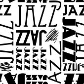 art seamless vector pattern background with word jazz in black and white