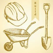 image of hand-barrow  - Sketch helmet barrow and shovel vector vintage background - JPG