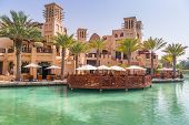DUBAI, UAE - 1 APRIL 2014: Architecture of Madinat Jumeirah resort in Dubai, UAE. Madinat Jumeirah i