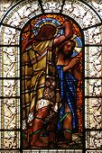 PARIS, FRANCE - NOV 10, 2012: Baptism of the Lord, stained glass, Saint-Vincent-de-Paul Church (desi
