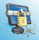 Locked Monitor With Padlock