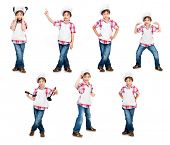 set of boy in a chef's hat isolated on white background