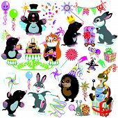 cartoon set with birthday party of mole