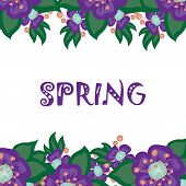 floral background with the word spring