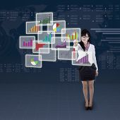 Businesswoman Choosing One Business Chart