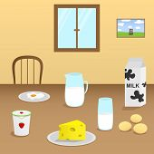 Illustration of dairy products on a wooden table in the dining room