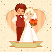 cartoon illustration of the groom and bride