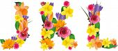 pic of letter k  - Vector colorful flower font - JPG