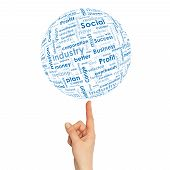 Woman hand sphere with business words
