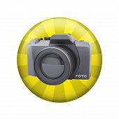 SLR camera. Spherical glossy button