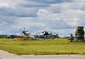 stock photo of military helicopter  - Modern russian military transport helicopters on the parking place - JPG