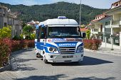 MARMARIS, TURKEY - APRIL 17, 2014: Public minibus to Armutalan on the street of Marmaris. Armutalan