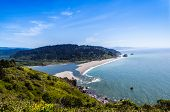 stock photo of klamath  - Klamath River end at the Pacific Ocean viwe form the Klamath overview in Klamath California - JPG
