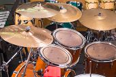 pic of drum-kit  - A closeup take of a classic drum kit - JPG