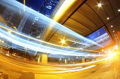 hong kong modern city High speed traffic and blurred light trails