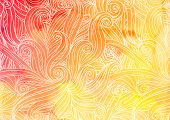 Orange vector doodles on watercolor background