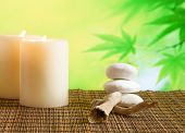 Spa Massage Border Background With Candles Near Stone And Wood