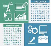 200 office, business, media, technology icons, signs, symbols set, vector