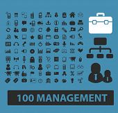 100 management, office, business, marketing, retail, sales icons, signs, symbols set, vector