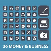 money, business, analytics, presentation icons, signs, symbols set, vector