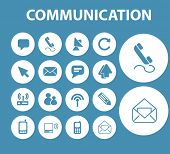 communication, message, email buttons, icons, signs, symbols set, vector