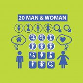 man, woman signs, symbols, icons set, vector