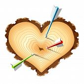 Wooden cross section of the heart shape with arrows. Vector.