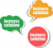 Business Solution. Set Of Stickers, Labels, Tags. Template For Infographics