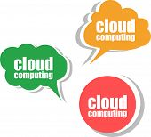 Cloud Computing. Set Of Stickers, Labels, Tags. Template For Infographics