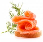 foto of canapes  - sandwich or canape with salmon on white background  cutout - JPG