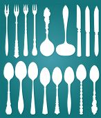Vector. Retro cutlery on blue background.