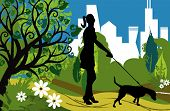 stock photo of poodle skirt  - A woman with a dog on the background of the cityscape - JPG
