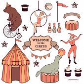 Set Of Various Circus Elements, People, Animals And Decorations