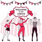 foto of harlequin  - Circus performance advertisement with gymanst girl - JPG