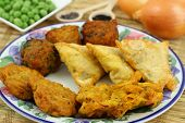 Selection of Indian vegetarian snacks