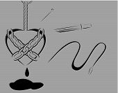 picture of sadist  - Minimalist design of hanged chained black heart with black blood bleeding surround by knife needle and whip vector art - JPG